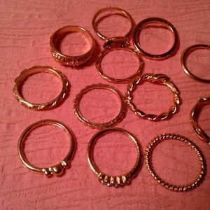 Jewelry - Lot of 12 Assorted Gold-tone Rings